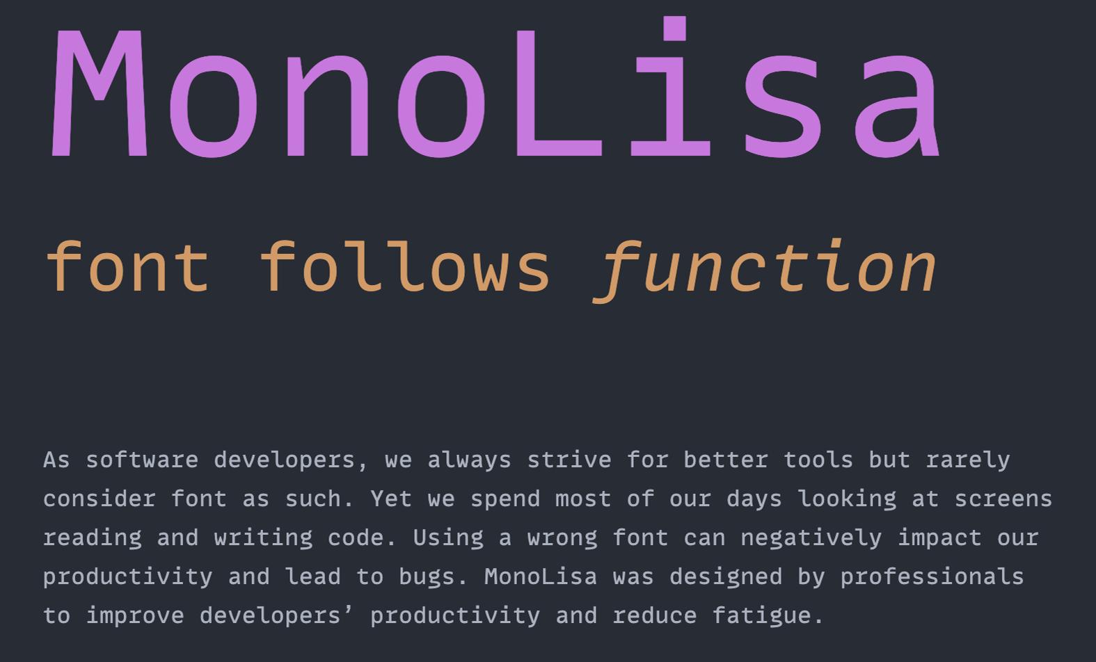 Neuer Lieblingsfont für Editor und Terminal: MonoLisa