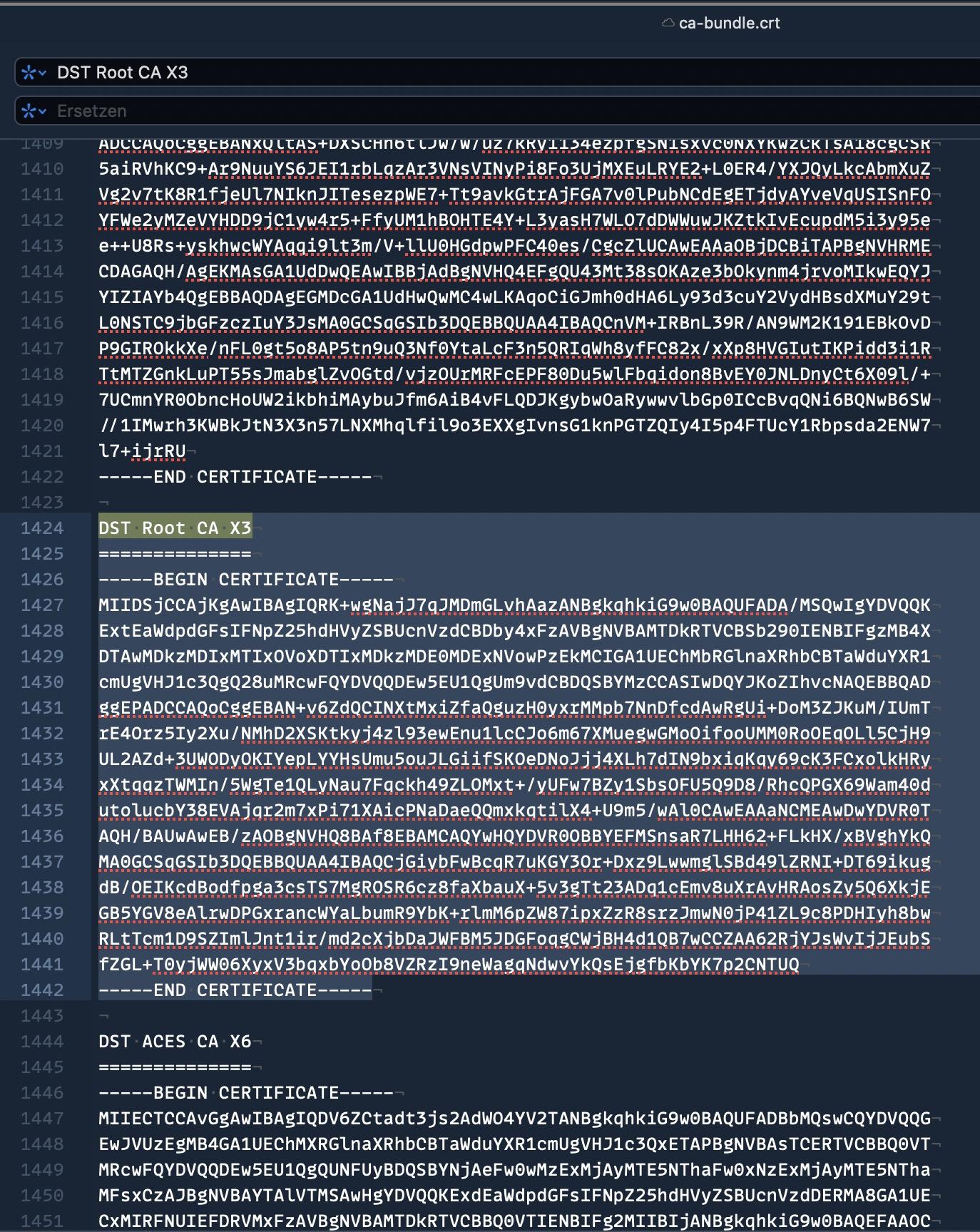 Probleme bei WordPressupdate: cURL error 60 SSL certificate problem certificate has expired